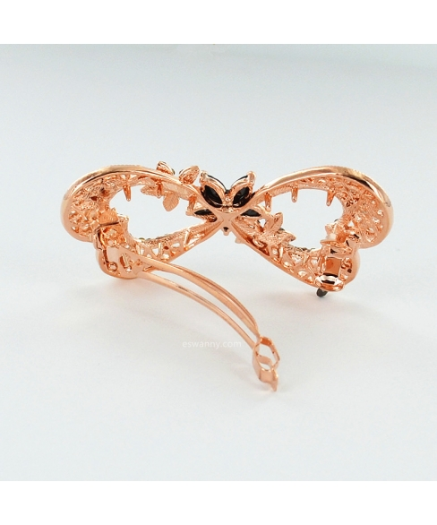 Rose Gold Cubiczirconia Bow Barrette