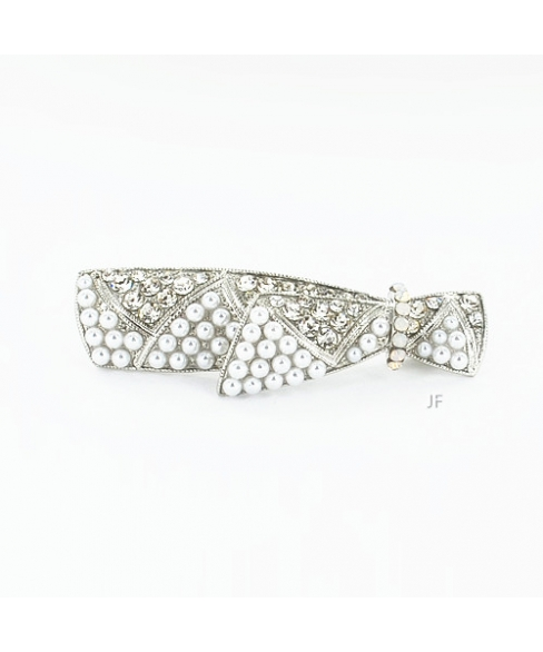 Faux Pearl & Crystal Barrette (Clip Pairs)
