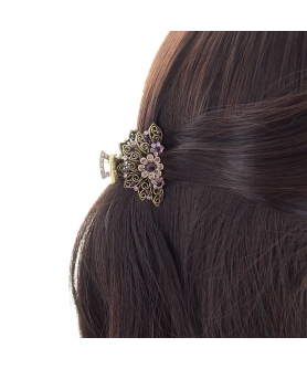 Vintage Inspired Crystal Flower Hair Jaw