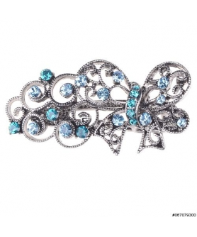 Vintage Inspired Crystal Butterfly Pinch Clip