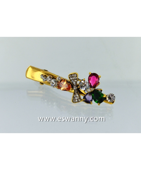 Glamorous CubicZirconia Butterfly Alligator Clip
