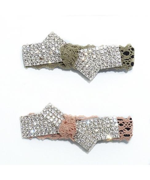 Crystal & Lace Alligator Clip