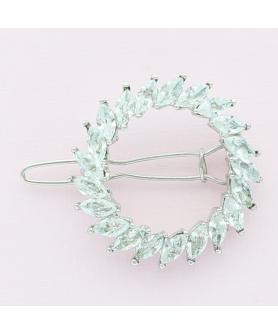 Crystal Rhinestone Circle Barrette/Hair Clip