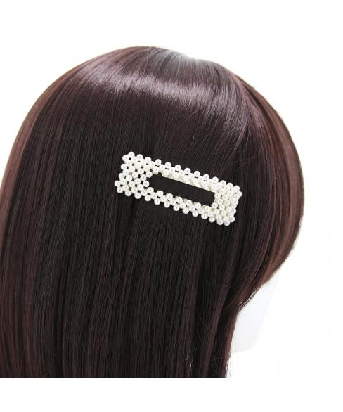 Imitation Pearl Rectangle Snap Clip/Barrette