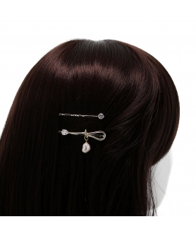 Crystal and Pearl Knot Bobby Pin (2-Pack)