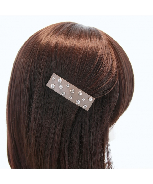 Faux Leather Rhinestone Rectangle Snap Clip