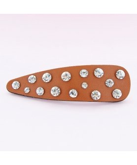 Faux Leather Rhinestone Snap Clip