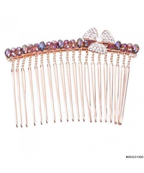 Crystal Flower & Row Beaded Hair Comb