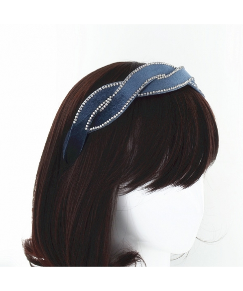 Crystal Deco Silk Like Velvet Twist Headband