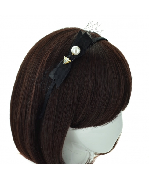 Crystal & Faux Pearl Ribbon Headband