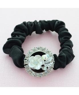 Crystal Flower Silk Like Stain Ponytail Holder