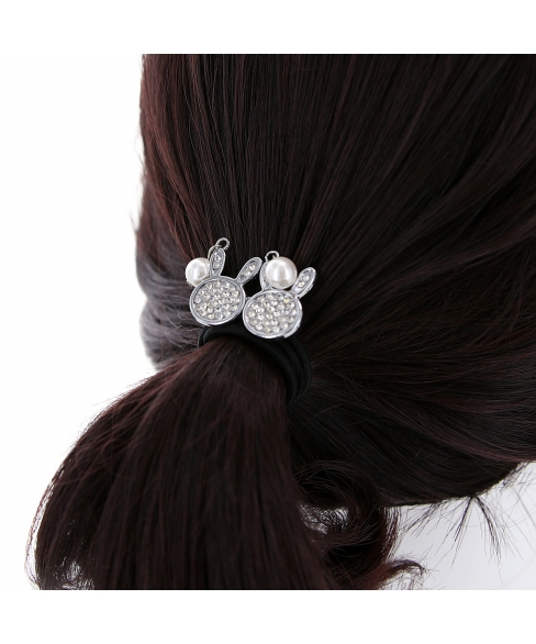 Rhinestone Rabbit Ponytail Holder