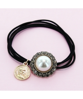 Crystal & Pearl Embellished Ponytail Holder