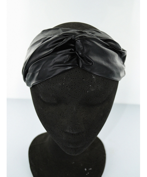 Faux Leather Head Wrap W Covered Elastic In Back