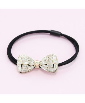 Crystal-Embellished Bow Ponytail Holder