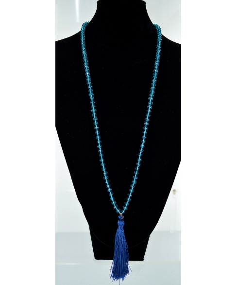 Crystal Beaded Tassel Necklace