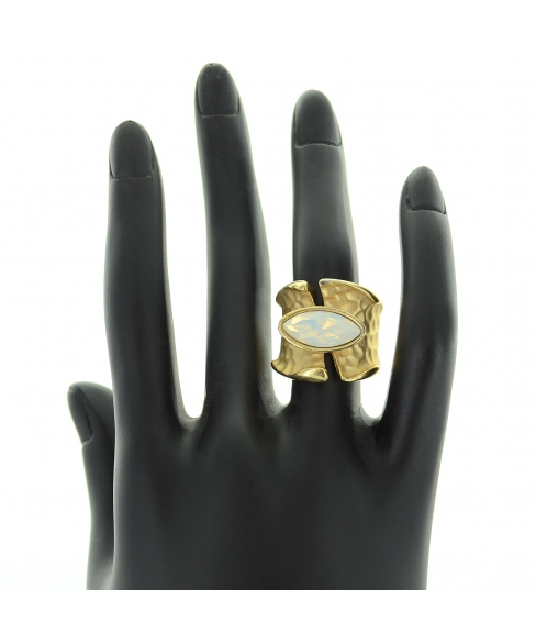 Matte Gold Tone Modern Art Ring