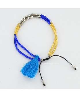 Bead Tassel Adjustable SlideClosure Bracelet 6-8''