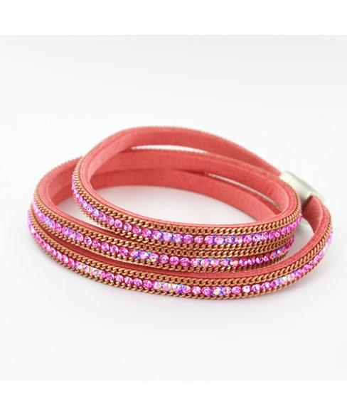 Shimmering Crystal Wrap Magnetic Closure Bracelet