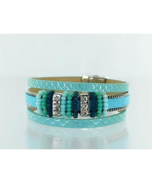 Crystal & Beaded Magnetic Closure Bracelet