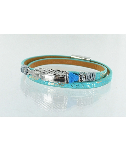 GoodLuck Feather Leather Wrap Bracelet