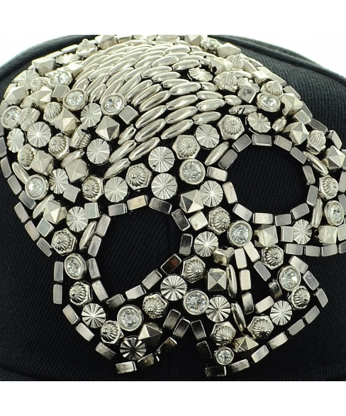 Unsex Crystal & Studded Skull Baseball Cap