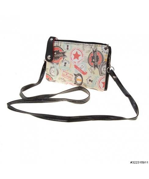 Vegan leather crossbody mixed print cellphone bag
