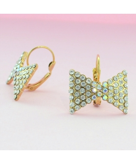 Sparkling Rhinestone Bow Earrings