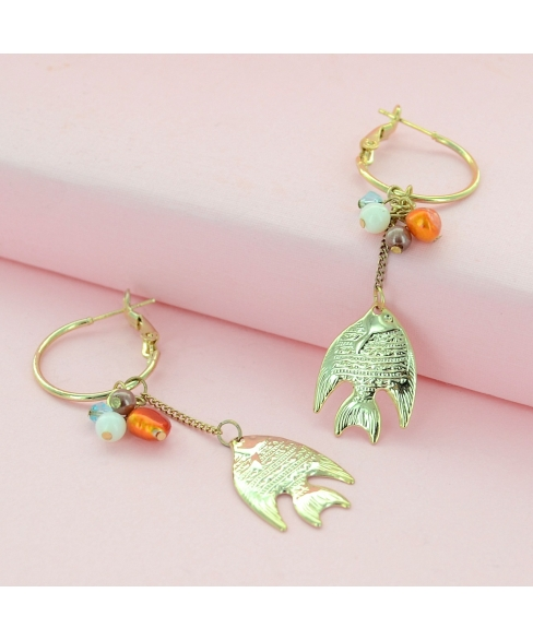 Golden Fish Hoop Drop Earrings