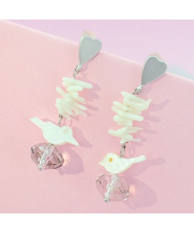 Crystal Drop Bird Earrings