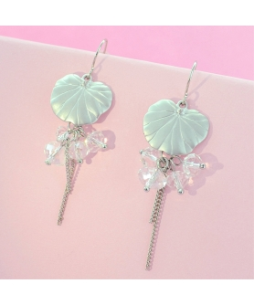 Matte Finish Leaves Drop Crystal Earrings