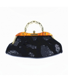 Vintage Inspired Sequin Embroidery Faux Fur Bag