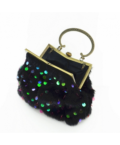 Faux Fur Sequin Embroidery Clutch