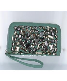 Vegan Leather Bling Bling Wristlet Wallet
