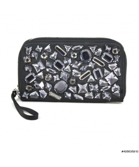 Vegan Leather Bling Bling Wristlet Wallet