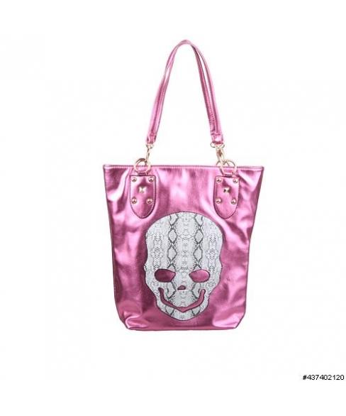 Metallic Vegan Leather Skull Tote