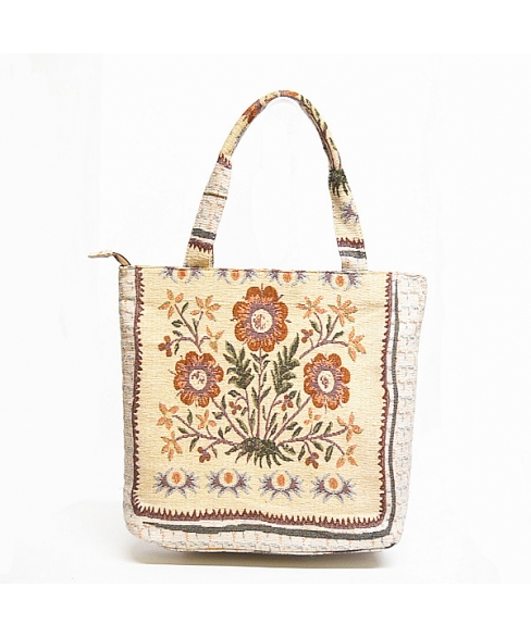 Floral Pattern W/ Shimmering Studded Fabric Tote