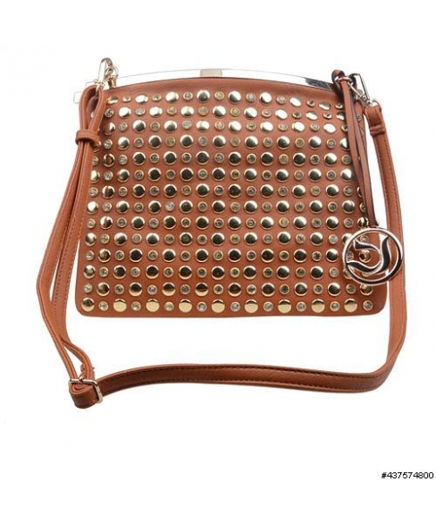 CrystalStudded Faux Leather ClipOpen Crossbody Bag