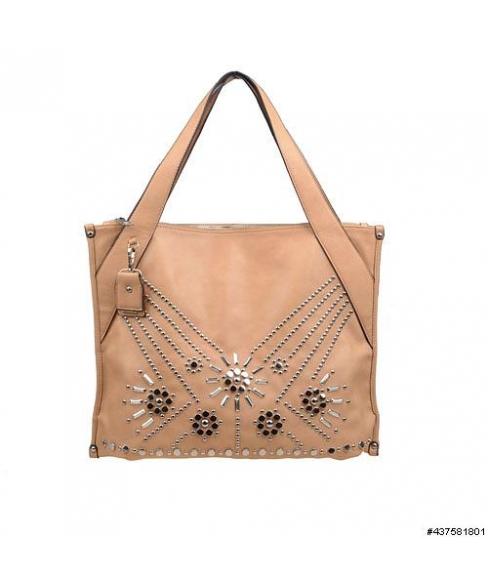 Vegan Leather Studded Detail Shoulder Bag
