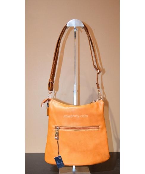 LiquidShine Faux Patent Leather Trim Crossbody Bag