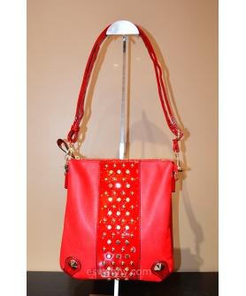 Studded Vegan Parent Leather Trim Crossbody Bag