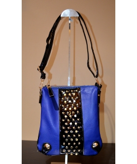 Studded Vegan Parent Leather Trim Crossbody Bag