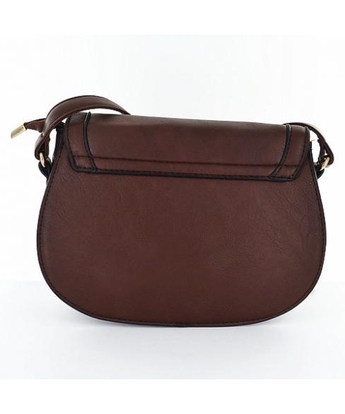 Chain Faux Leather Saddle Crossbody Bag