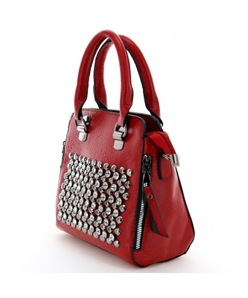 Crystal Studded Top Handle Faux Leather Tote