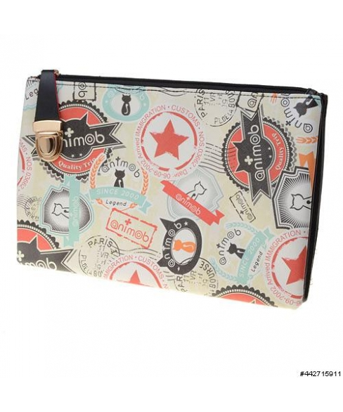 Vegan Leather Mix Print Double Compartment Clutch