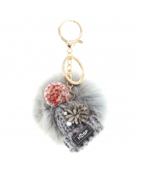 Knit Hat With Genuine Rabbit Fur Pompom Key Chain