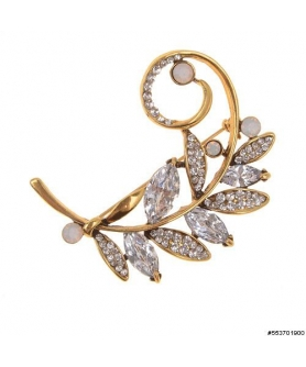 Cubiz Zirconia Autumn Leave Pin