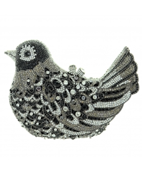 Crystal-Embellished Bird Evening Clutch