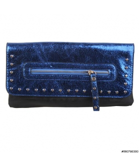 Faux Leather Studded Metallic Clutch