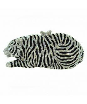 Tiger Crystal-Embellished Evening Clutch